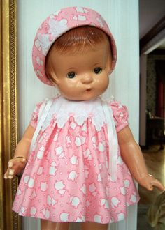 """Dress and Hat - 18""""Shirley Temple-19"""" Patsy Ann Doll, repro vintage fabric #Unbranded"""