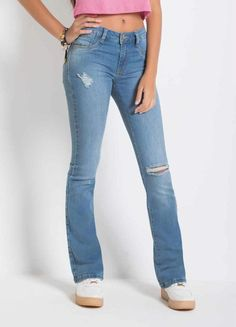 7b90d50831 Calça Sawary Boot Cut Jeans Destroyed Sawary
