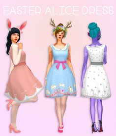 Easter Alice Dress 1 by dtron at SimsWorkshop • Sims 4 Updates