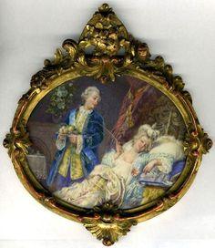 Miniature Painting, a Portrait of Louis XV & Mme. du Barry
