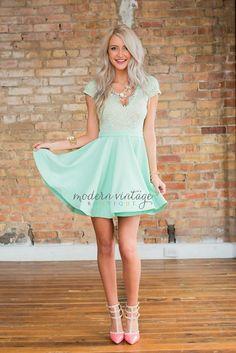 Online boutique. Best outfits. Angelic Admiration Dress Mint