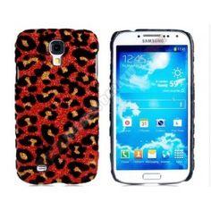 Carcasa divertida diseño leopardo Galaxy S4 en color rojo
