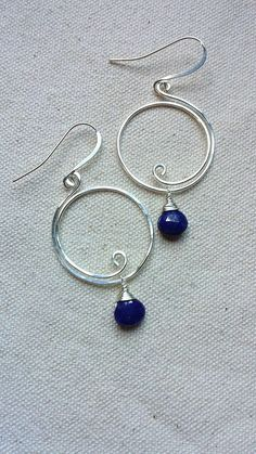 Lapis Lazuli Silver Wire Wrapped Hoop Earrings by BlackwoodArts on Etsy https://www.etsy.com/transaction/1037369114