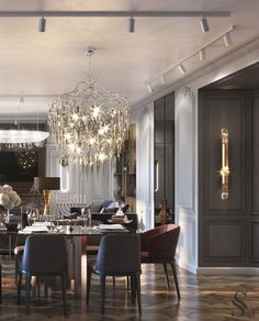 Table for 10 people is crowned by two chandeliers Brand van Egmond 10 Brand van Egmond Classic Dining Room, Luxury Dining Room, Dining Room Lighting, Dining Room Design, Dining Area, Drawing Room Interior, Luxury Homes Interior, Luxury Home Decor, Luxury Interior Design