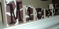 Reserved for E - GIRAFFE PRINT BLOCKS - Nursery - Safari - Name - Baby Shower - Decor - Personalized Initials - Jungle - Custom Letter