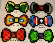 Avengers - Captain America, Thor, Iron Man, Hulk, Black Widow, Loki, Hawkeye bows perler beads by SamsFreeSpirit