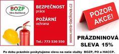 Prázdninová sleva 15% :: Věra Bačíková - BOZP, PO