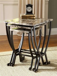 Shop Monaco Nesting Tables with great price, The Classy Home Furniture has the best selection of to choose from Furniture, Nesting Tables, Metal Nesting Tables, Hillsdale Furniture, Marble Table Top, Table, Home Decor, Coffee Table, Cottage Wall Decor