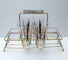 Vintage Modern Glass Tumbler Set in Stand Set by looseendsvintage, $35.00