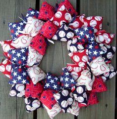 Baseball Theme Fabric Wreath | SooBoo - Housewares on ArtFire