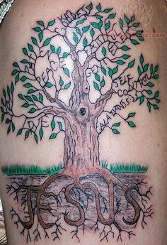 Loving the words tattoo'd into the branches.  Totally reflects my own tree of transformation concept.  Not too sure about the roots though.