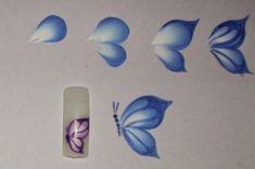 One Stroke Painting: Two types of butterflies for nails by juanacelis - Diana Figueroa One Stroke Pa Uñas One Stroke, One Stroke Nails, One Stroke Painting, Tole Painting, Face Painting Tutorials, Face Painting Designs, Donna Dewberry Painting, Cheek Art, Butterfly Face