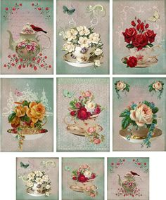 Vintage Inspired Tea Cup Tea Pot Note Cards ATC Altered Art Set 6 Mini Cards | eBay