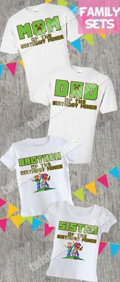 Minecraft Family Birthday Shirts | Minecraft Family Shirts | Minecraft Birthday Shirt | Minecraft Birthday Party Ideas | Minecraft Party | Birthday Party Ideas for Girls | Birthday Party Ideas for Boys | Twistin Twirlin Tutus #minecraftbirthday