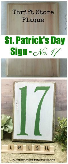 Thrift Store St Patrick's Day Sign – No.17 upcycle diy craft project #upcycle #stpatricksday #craft