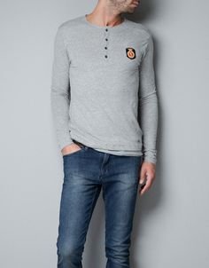 BUTTON NECK T-SHIRT WITH COAT OF ARMS - T-shirts - Man - ZARA