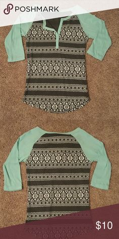 Pac-Sun Aztec print Gray and turquoise Aztec print shirt from Pac-Sun PacSun Tops Tees - Long Sleeve