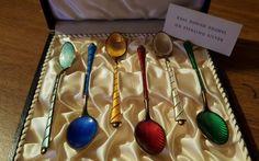 6 Vintage Sterling Silver Enamel Spoons | eBay