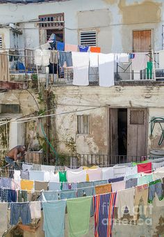 Laundry In Havana, Cuba. Laundry hanging in a courtyard amongst the ruins in Havana, Cuba. Fine Art Photography http://rob-huntley.artistwebsites.com © Rob Huntley