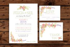Printable Wedding Invitation Bundle // Floral by SomebodyLovedShop, $38.00