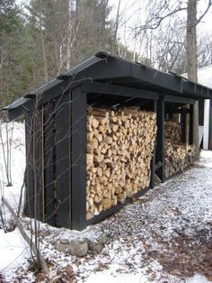You want to build a outdoor firewood rack? Here is a some firewood storage and creative firewood rack ideas for outdoors. Lots of great building tutorials and DIY-friendly inspirations! Outdoor Firewood Rack, Firewood Shed, Firewood Storage, Outdoor Storage, Big Sheds, Wood Storage Sheds, Wood Store, Backyard Sheds, Into The Woods