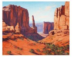 CANYON painting DESERT landscape painting Traditional art by indicated artist G. Fantasy Landscape, Landscape Art, Landscape Paintings, Desert Landscape, Oil Paintings, Landscape Design, Landscape Tattoo, Landscape Drawings, Le Vent Se Leve