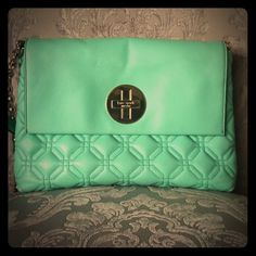 GUC Kate Spade Astor Court in Mint Green Really yummy minty green color. Not pale and pastel but bold. Nice quilted leather and gold hardware. Black lining with white polka dots. Has a few small stains as pointed. Small but fits a lotion, thick wallet, change purse, lipsticks, and glasses with plenty of room. kate spade Bags