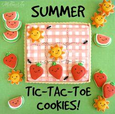 summer tic tac toe cookies by melissa joy cookies