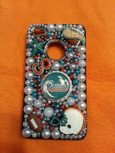 Miami Dolphins football fan bling glam by blingglamcreations, $32.00