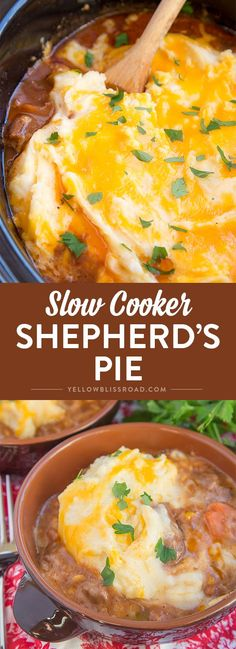 This Slow Cooker Shepherd's Pie, is rich and delicious and full of tender beef and vegetables in a thick gravy topped with creamy, cheesy mashed potatoes. It's the ultimate stick-to-your-ribs comfort food!