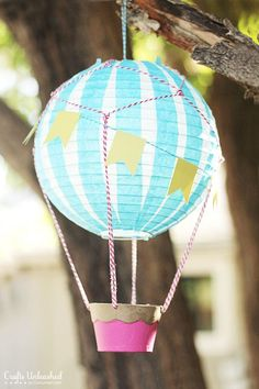 "Vintage Hot Air Balloon •8"" paper lantern, tissue paper, spray adhesive, baker's twine, paper mache cupcake box, cardstock, paint, hole punch, double-sided tape •Tutorial"