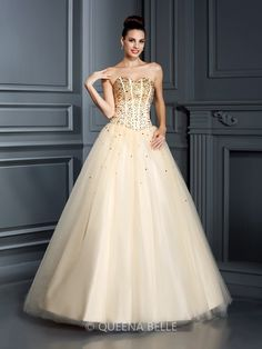 Ball Gown Sweetheart Sleeveless Beading Floor-Length Satin Quinceanera Dresses