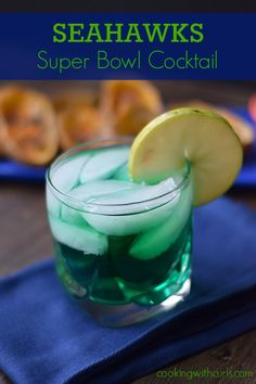 The Seahawks cocktail has Jone's Green Apple soda, vodka, and blue curacao, so it tastes like green Jolly Rancher….with a kick. Cocktails, Party Drinks, Cocktail Drinks, Fun Drinks, Yummy Drinks, Beverages, Alcoholic Drinks, Super Bowl 2015, Super Bowl Sunday