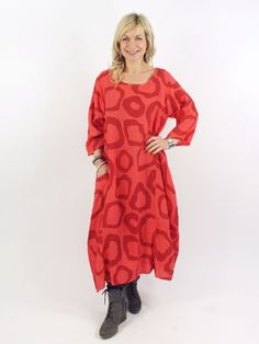 Made In Italy Roseanne Circle Linen Dress Coral Red