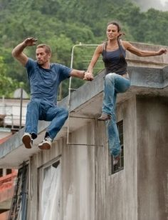 This scene was filmed in Naranjito, PR. Paul and Jordana jumped 30  feet to land atop a safety mat.