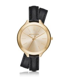 Exclusively Ours in the U.S. in Michael Kors stores and on michaelkors.com. Double your wrist's chic factor with the elegant Slim Runway watch. In gold-tone stainless steel and luxe leather, this timepiece offers up a refined take on a classic. The buckled bracelet wraps for a layered look that reads both cool and casual.