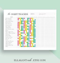 Habitude Tracker imprimable quotidien habitudes par EllagantInk