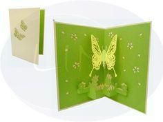 Aufklappbare POP UP Geburtstagskarte mit Schmetterling in grün. Mehr entdecken auf: www.lin-popupkarten.de