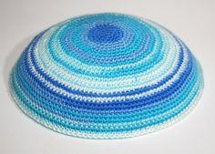 kippah blue mixed ready for shipping by crochetkippah on Etsy