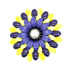 Buy Vintage flower  brooch,purple and yellow colors, enamel • 50's or 60's• Lovely flower •Costume Jewelry, Pin Brooch by zazaofcanada. Explore more products on http://zazaofcanada.etsy.com
