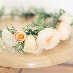 Rose Tinted Flower Crown - Peachy, apricot tones.