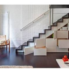 Manhattan Micro-Loft: modern Corridor, hallway & stairs by Specht Architects