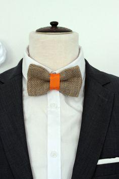 Burlap wedding bowtie, Mens Bow tie, burlap orange wedding bow tie, rustic orange bulrap wedding bow tie, boutonniere, burlap linen bowtie by Nevestica on Etsy