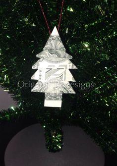 Money Origami PINE TREE Christmas Tree Ornament