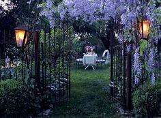 wrought iron + wisteria
