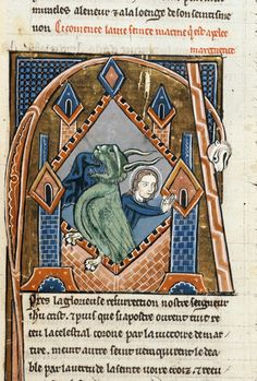 Detail of an historiated initial 'A'(pres) of Margaret, in prison, emerging from the side of a dragon. Wauchier de Denain, Lives of the Saints. France, Central (Paris); 2nd quarter of the 13th century