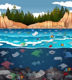 Water Pollution Poster, Ocean Pollution, Plastic Pollution, Environment Painting, Save Environment, Save Earth Drawing, Ocean Illustration, Earth Drawings, Water Drawing