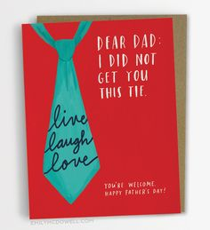 Live, Laugh, Love Tie | Father's Day Card | Emily McDowell | Emily ...