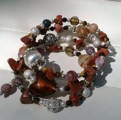 Boho Bracelet Beautiful Earthy Brown and Amber Tones Memory Wire Bracelet and Earrings Jewellery Set by STRICTLYBOHOltd on Etsy