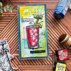 Simon Says: Food and/or Drink - Simon Monday Challenge Blog Promotion Card, Tim Holtz Stamps, New Home Cards, Simon Says Stamp Blog, Fun Cup, Congratulations Card, Card Maker, Art Journal Pages, Distress Ink